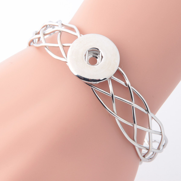 7 Style Exquisite Noosa Snap Button Alloy Bracelet Fit 18mm Adjustable Size Snap Buttons Jewelry Inlay Rhinestone Snap Buttons Bracelet