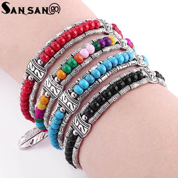 New Trendy Vintage Tibetan Silver Feather Colorful Beads Charms Bracelet Gypsy Bohemian Style Bangle Jewelry For Women Gift