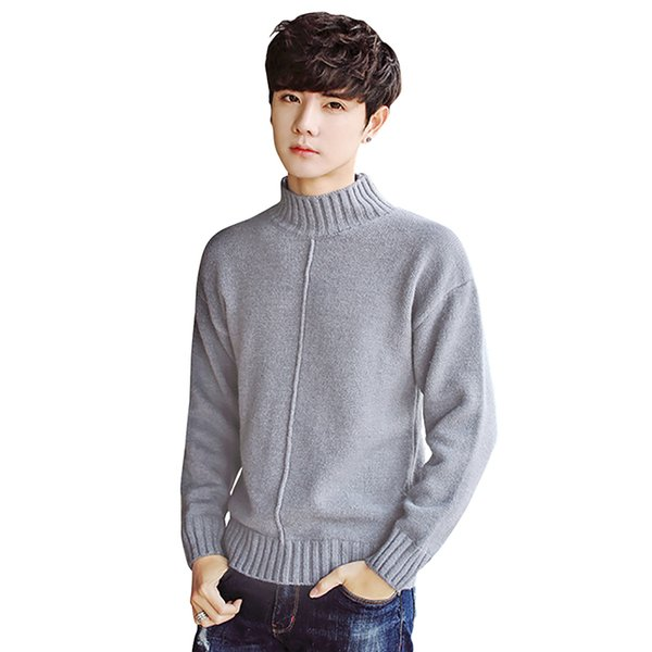New Fashion Mens Clothing Sweaters Crew Neck Men Full Sleeve Solid Color Mens Pullover Sweaters
