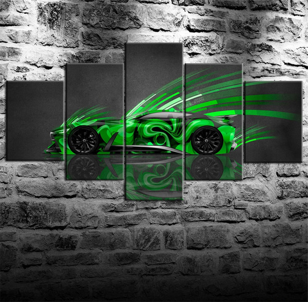 Infiniti Concept Super Abstract Flying Car,5 Pieces Canvas Prints Wall Art Oil Painting Home Decor (Unframed/Framed)