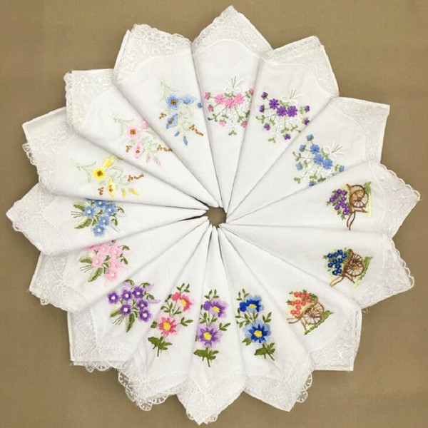 Vintage Cotton Women Hankies Embroidered Butterfly Lace Flower Hanky Floral Assorted Cloth Ladies Handkerchief Fabrics 28*28cm
