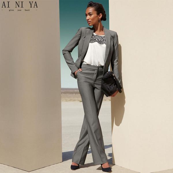 4b282c019521 Compre Gris OL Formal Oficina Uniforme Diseños Mujeres Trajes De Negocios  Slim Fit Traje De Pantalón Femenino Señoras Pantalones Elegantes Trajes ...