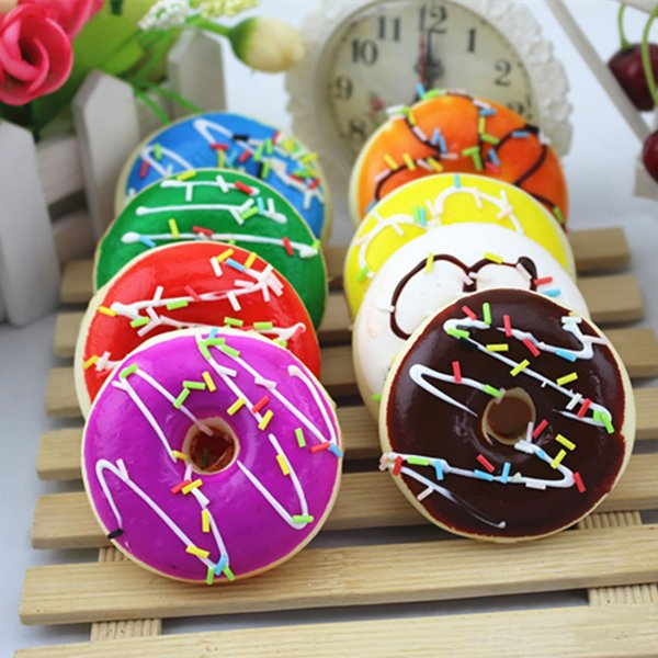 top popular Colourful Doughnut bread Squishy oyuncak squishies antistress slime squishys Squeeze Stress Reliever Soft Rising Toys 2021