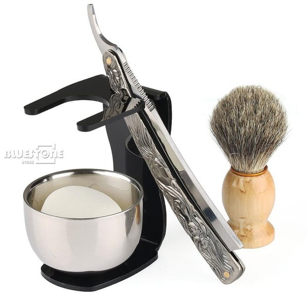 5 in 1 Men's Barber Shaving Set Shaving Knife Straight Razor + Brush + Black Stand Bowl Soap Free Shipping