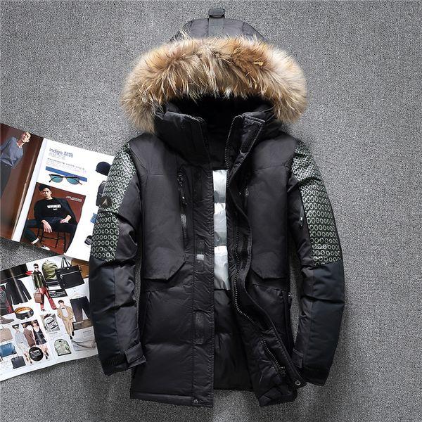 -40 C Winter Big Genuine Fur Hooded Duck Down Jackets Men Warm Russia Down Coats Male Casual Winter Parkas