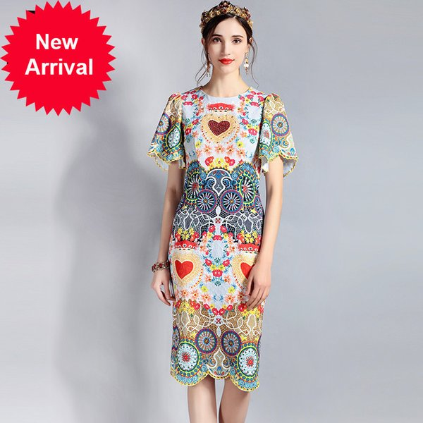 2018 Fashion Runway Summer Dress Women's Short Sleeve Floral Print Embroidery Beading Vintage Sheats Pencil Dress