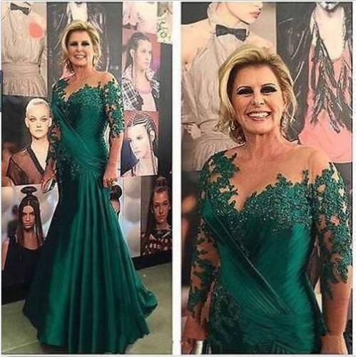 2018 Sexy dark green silk like fishtail dress with pleated jacket applique and ground collar with net long sleeves, mom package, custom mail
