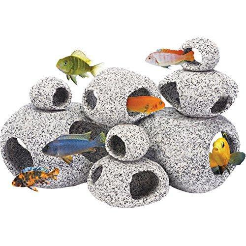 best selling Cichlid Stone Aquarium Fish Tank Pond Ornament Decoration Shrimp Breeding Rock Cave Ceramic Stones Akvaryum
