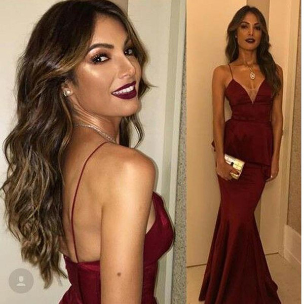 2018 Dark Red Sexy Spaghetti Straps Evening Dresses V-Neck Mermaid Burgundy Party Dress Backless Long Prom Gown