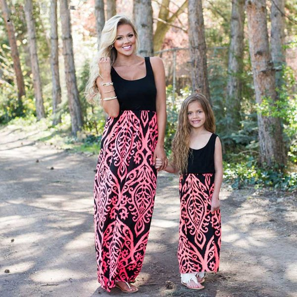 Mother Daughter Dress Family Matching Outfits Neon Coral Black Damask Maxi Dress Baby Girl Summer Mommy and Me Clothes