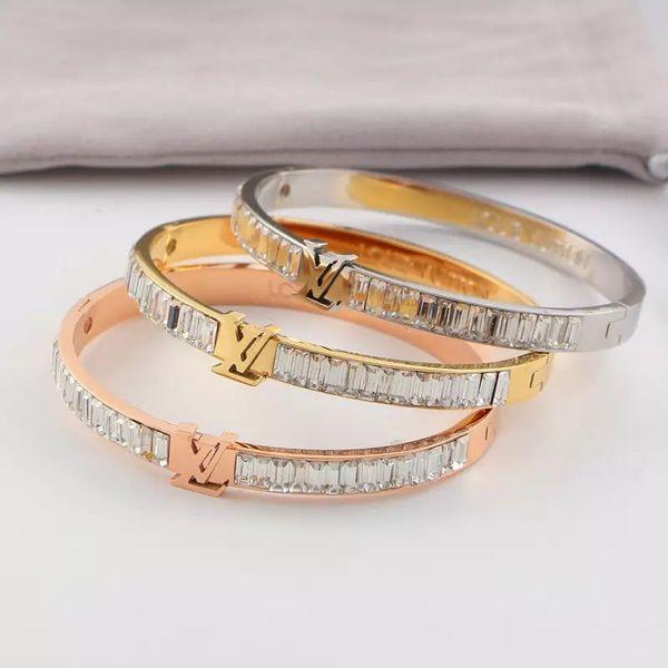 Brand Bijoux Bangles Rivet 316 L Titanium Stainless Steel Full Crystal Bangles Bracelets Fashion Jewelry For Women and Men2018 new