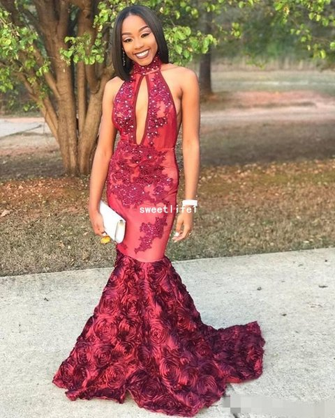 2019 Arabic Black Girls Mermaid Prom Dresses Popular Keyhole Neck High Neck Red Appliques Sequins Flowers Long 2K18 Evening Gowns