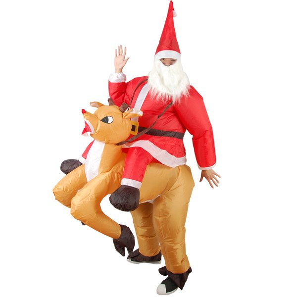 red nose reindeer carry santa inflatable costume for adult father Christmas ride on reindeer inflatable fancy dress suit for Christmas party