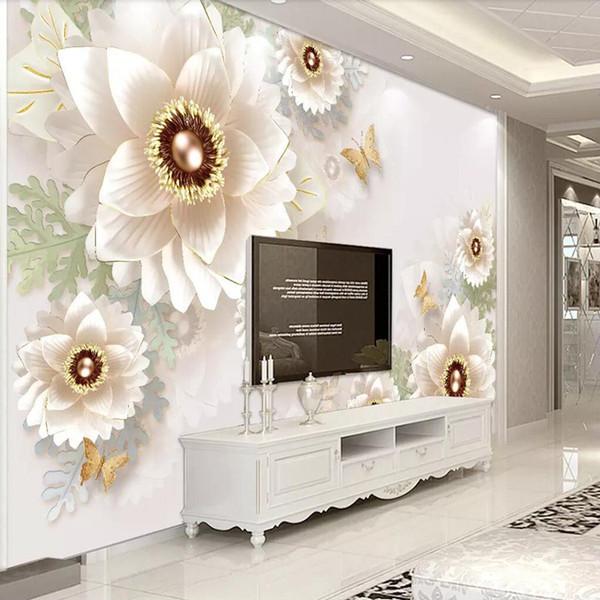 Arkadi European Wallpaper 3D Embossed Flowers Simple TV Background Wall  Living Room Wallpaper Wall Covering Sofa Mural Free Wallpaper For Computer  ...