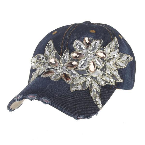 2017 Nuevo Estilo de La Venta Caliente de Las Mujeres de Diamante Capa de Mezclilla Gorra de Béisbol de Moda Topee casquette de béisbol gorras mujer gorro feminino