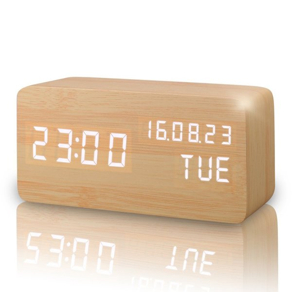 Free shipping LED Cube Wooden Clock Voice Control Electronic Desk Table Clock LED Digital Watch no Radio For Kids Bedside Alarm Clock