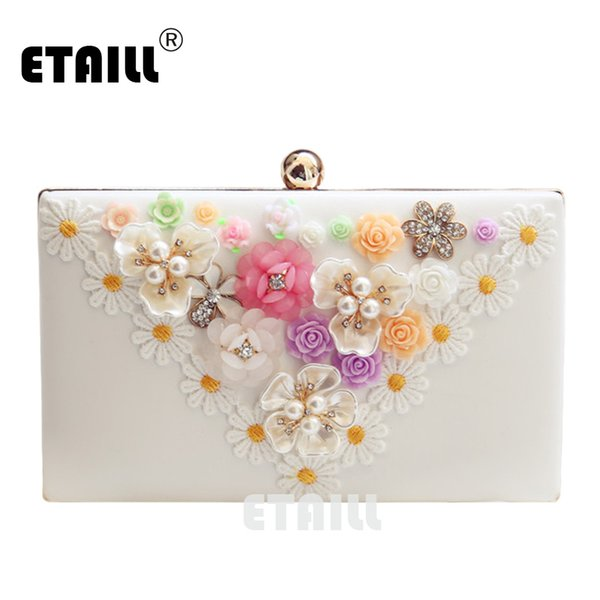 ETAILL New Color Crystal Evening Day Clutches Flower Wedding Bags Evening Bag Full Dress Party Handbag Bride Bag Purse Lady Gift
