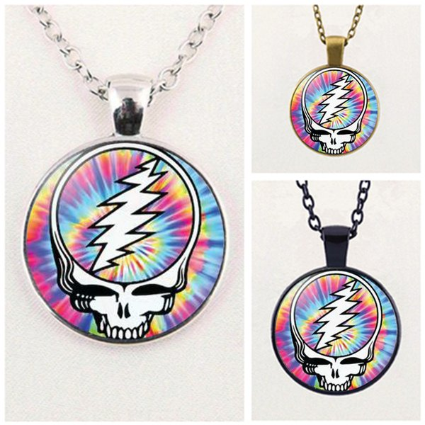 best selling Fashion Grateful Dead Band Necklace Pendant Cabochon Glass Accessories Creative Unisex Jewelry Gifts Wholesale
