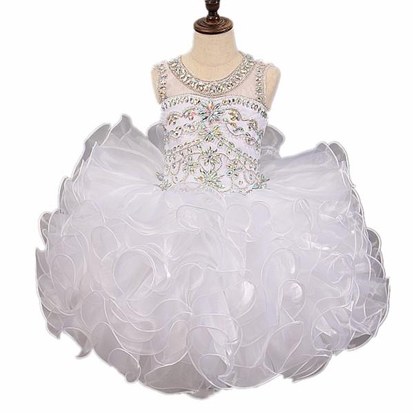Girls Pageant Dresses 2018 Ball Gowns Unique Designer Real Image White Puff Tutu Child Glitz Flower Girls Dresses For Wedding