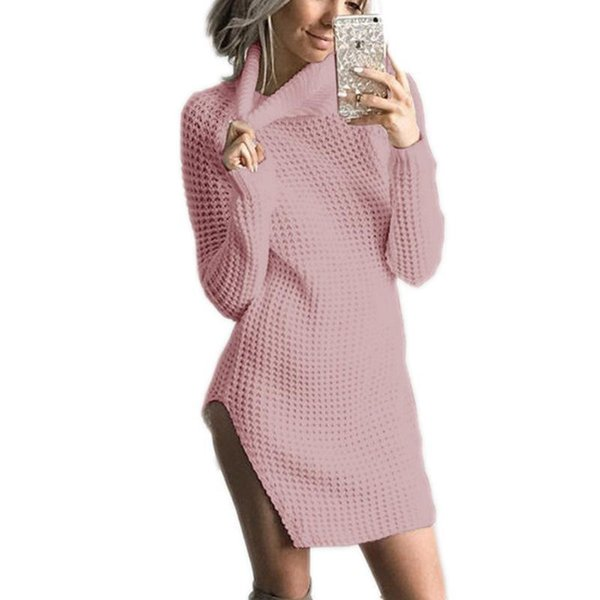 Women Dresses 2017 Spring/Autumn Female Casual Turtleneck Street Solid Side Split Vintage Sexy Club Party Knitwear Dress