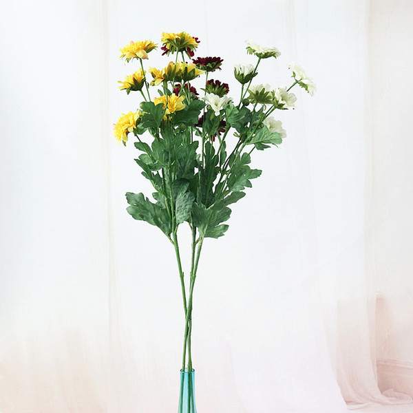 Flone Artificial Long Branch Chrysanthemum Flowers Fake Flower Silk Simulation Daisy For Wedding Home Office Party Decor Art
