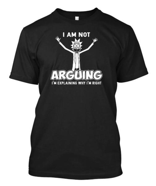 eu não estou discutindo o rick e morty - o T preto do t-shirt dos homens feitos sob encomenda
