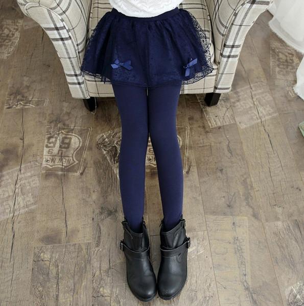 Ragazze pantaloni di pizzo gonna inverno Nuove ragazze di primavera addensare leggings con gonna vestiti delle ragazze bambini pantaloni pantaloni leggings per ragazza