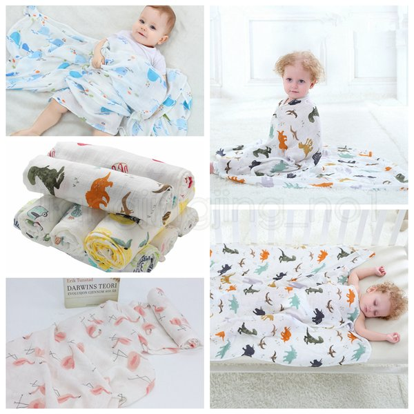 115*115cm 22 Styles Bamboo Cotton Baby Blanket Muslin Swaddle Wrap Soft Thin Newborn Blankets Infant Stroller Cover Play Mat 30pcs AAA818