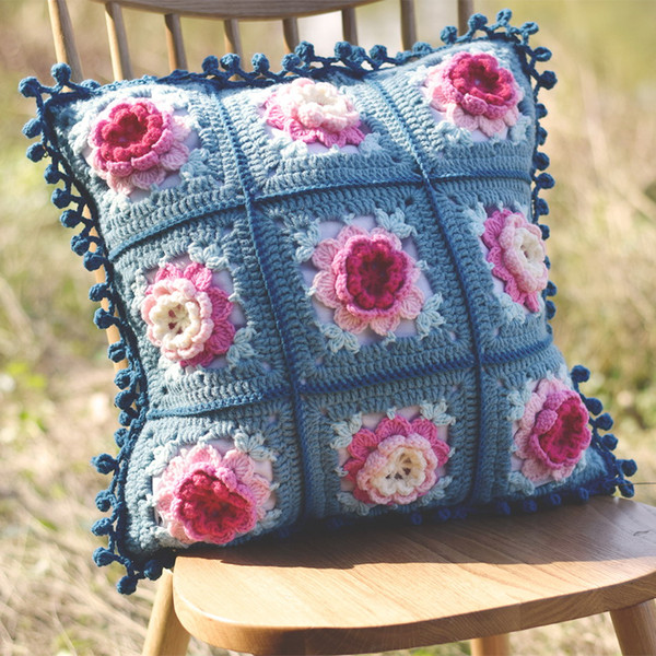 Original Retro Handmade Crochet Sofa Back Cushion Diy Flower Bed Pillow Traits Girdle Pillow Wedding Gfit Decor Prop 45cm Lawn Chair Cushions