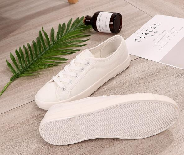 a50e40584d Spring New canvas Shoes Woman Fashion Lace Up White Shoes Woman Flats For Lady s  Size 35