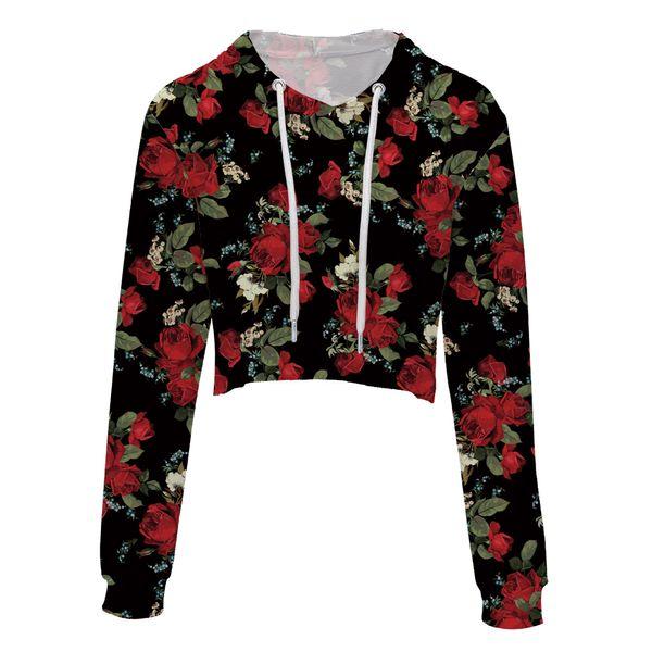 tops para mujer Moda Casual Flojo Punk flores cráneo sudadera con capucha de manga larga con estilo Crop Top Primavera Otoño sudadera delgada más el tamaño