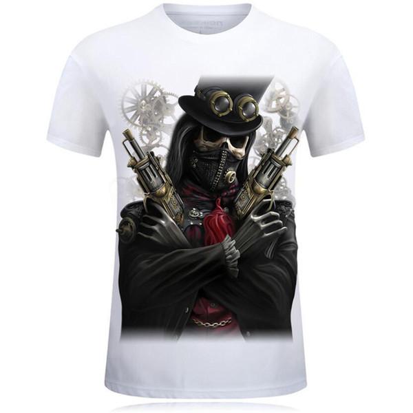 Moda Yaz İskelet Topçuları Baskı 3d T Gömlek Tops Erkekler Kısa Kollu Komik Streetwear Homme