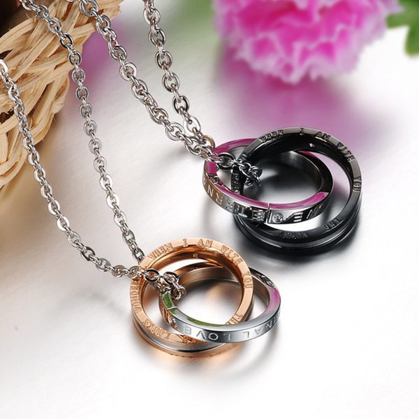 Free DHL Dual Circle Necklace Circle Pendant With Diamond Titanium Steel Couple Necklace Couple Ring Necklace Two Rings Jewelry Gift H376F