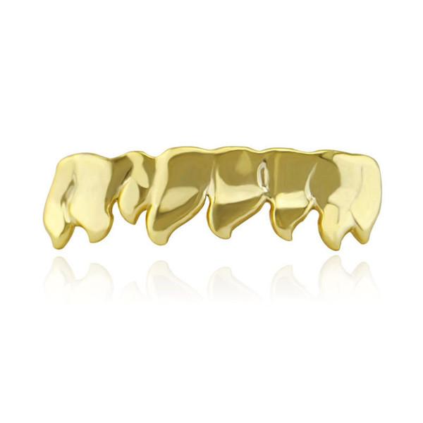NOVITÀ Hiphop Gold Grills Tappi a forma di griglia per i denti Inferiore inferiore Perm Cut Real Grill Griglie per denti Danno silicone e pinzette