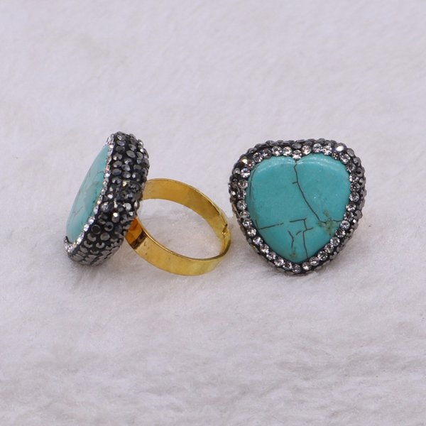 5 Pieces Fashion Bohemian Style Blue Stone Heart Shape Rings Adjustable Party Gem Rings Handcrafted Wholesale Women Jewelry