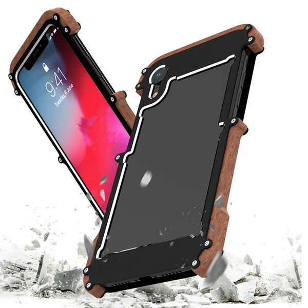 Shockproof Armor Wood Grain aluminum alloy bumper frame Protective Case Cover for iPhone XS XR MAX back Cover shell Sleeve