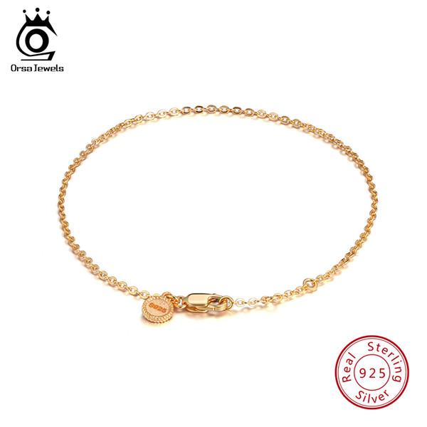 ORSA JEWELS 925 Sterling Silver Women Bracelets Gold-color Elegant Bracelet Lobster-claw-clasp Fashion Jewelry For Girl SB28