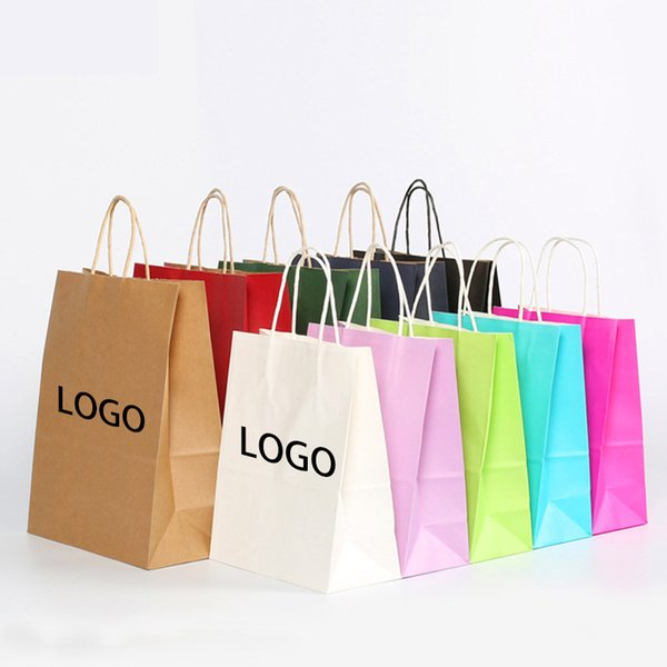 10 colors 6sizes custom printed logo gift kraft paper bag/Recyclable brown kraft paper bag/white kraft paper bag