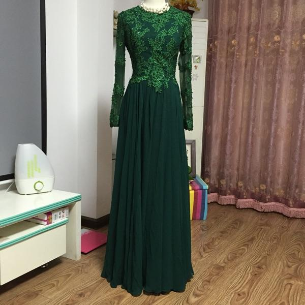 best selling Jewel Neck Chiffon Long Evening Dresses with Lace Appliques New Long Sleeves Prom Dress Floor Length Mother of Bride Dress