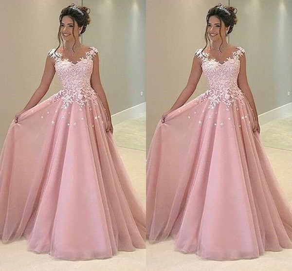 f6329acb00fae Cheap Baby Pink 2019 Prom Dresses Appliques Lace A Line Tulle Long Dresses  Party Evening Formal Cocktail Party Dress 80s Prom Dress Backless Prom ...