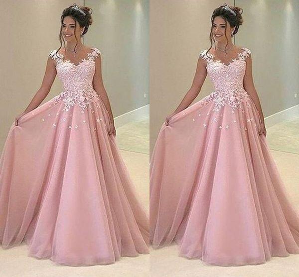 Compre Barato Baby Pink 2019 Vestidos De Fiesta Apliques De Encaje Una Línea De Tul Vestidos Largos Fiesta De Noche Vestido De Fiesta De Cóctel Formal
