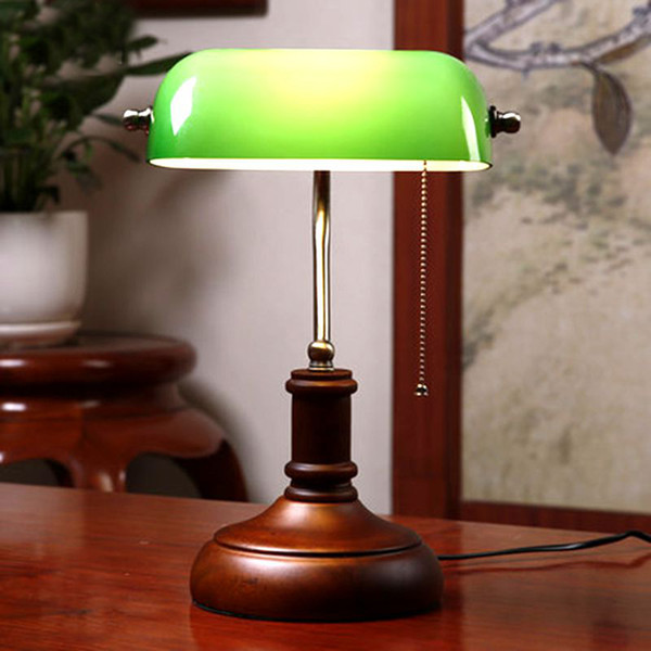 Vintage Wooden Green Glass table Lamp chinese style bedroom bedside lamps living room office Study room antique green Desk Lamp