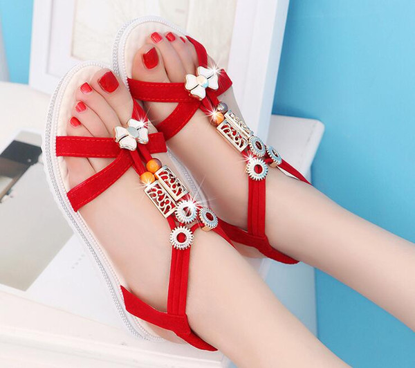Summer styles women sandals female channel rhinestone comfortable flats flip gladiator sandals party wedding shoes Free Shipping