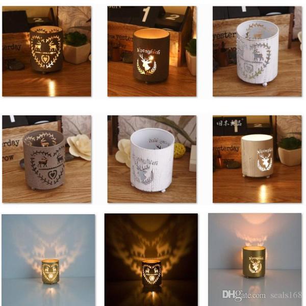 DHL Weihnachten Rentier Kerzenhalter Neue Teelicht Hohl Metall Kerzenständer Laterne Für Weihnachten Party Dekorative 5 Stil HH7-1830