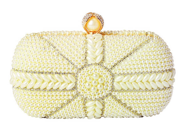Pure hand-embroidered beads sweet square pearl bag evening dress bride bag ladies club small fragrance clutch 2018