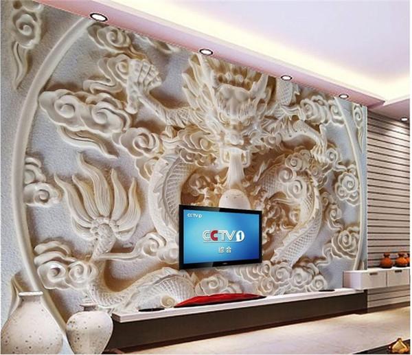Acheter Peintures Murales Chinois Fond Décran Dragon Relief Photo Personnalisé Papier Peint Mur De Fond Vivant Salle Tv Fond Décran 3d