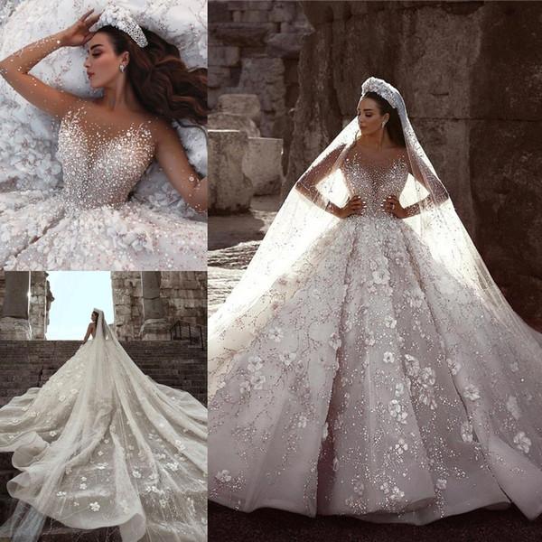 2019 Designer Glamour Manches Longues 3D Floral Applique Fleurs Perles Robes De Mariée Arabe Baguettes Robes De Mariée Robes De Novia BC0151