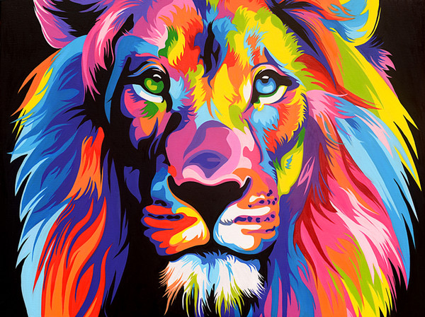 Modern Colorful Lion Head Animal Lion Oil painting Canvas Giclee Print art poster painting decoration for Living Room Bedroom Home Decor 150