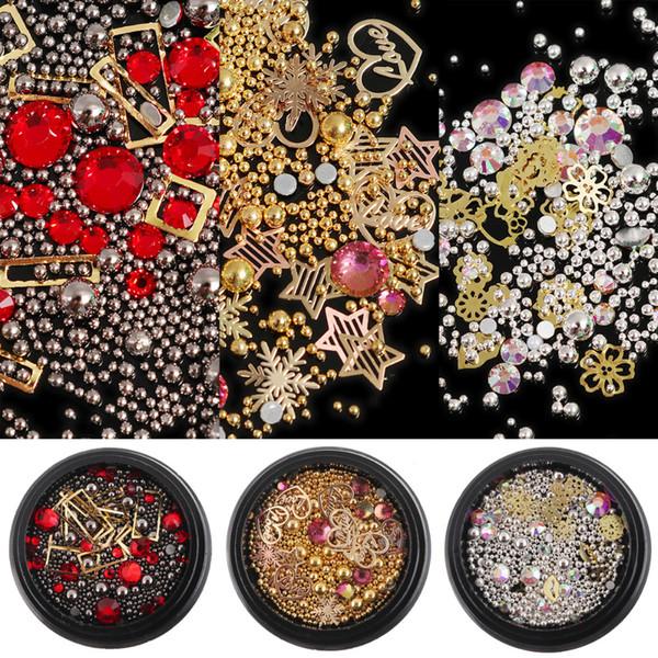 3 Type Nail Art Metal Caviar Beads Rivet Stud Hollow Frame Flat Back AB Rhinestones Crystal 3D Charm Gem Decorations Accessories
