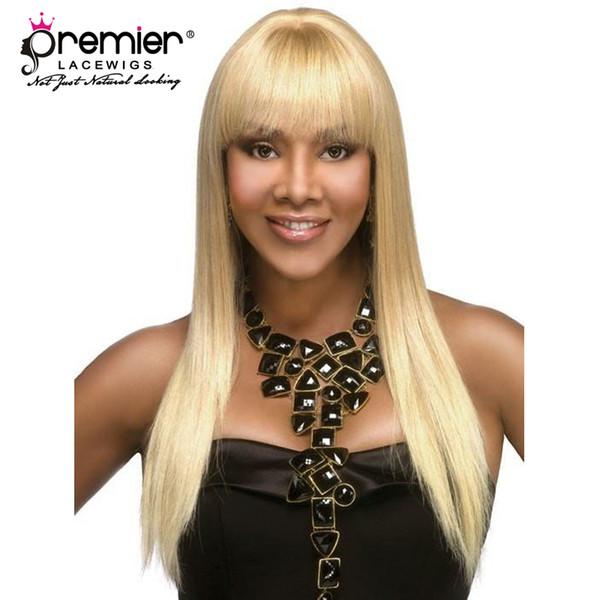 Premier sem cola perucas cheias do laço brasileiro virgem cabelos de seda em linha reta com franja 613 loiro cor perucas para americano